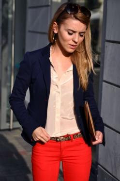 Navy Blazer, Nude Blouse, Red Pants: Pants Navy, Navy Blazers, Red Jeans, Style, Outfit, Red Pants