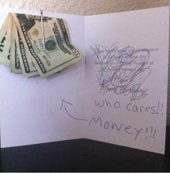 Oh now this is freaking hilarious. I am going to do this one day. That's all they want anyway, right?: Money Card, Gift Ideas, Birthday Cards, Who Cares, Cares Money, Funny Stuff, Gifts, Money Gift