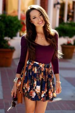 Perfect outfit for me! Warm fall outfit for Houston: Floral Skirts, Style, Color, Dream Closet, Spring Summer, Long Sleeve, Fall Outfit, Spring Outfit