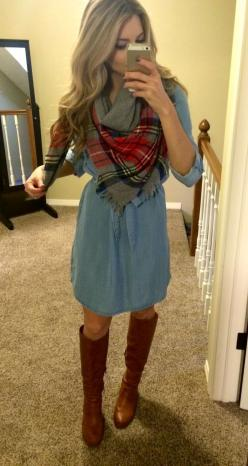 PolishedandPink: Work Day Looks: Casual Church Outfit, Fall Style, Modest Casual Dress, Blanket Scarf Outfit, Fall Church Outfit, Fall Outfits Teacher, Denim Dress Outfit, Jean Dress Outfit, Winery Outfit