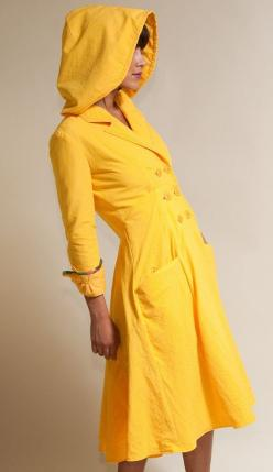 Seaside Raincoat  Available in Yellow Black by LizzBasingerDesigns, $375.00  ... if only it cost less  :(: Yellow Raincoat, Black Gray, Fashion, Seaside Raincoat, Rainy Days, Coats, Yellow Black