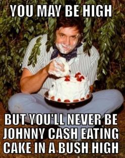 You may be high, but you'll never be Johnny Cash eating cake in a bush high!: Cakes, Funny Stuff, Eating Cake, Johnny Cash, Johnnycash, Funnie, Cash Eating