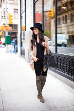 Fall Outfit Ideas With Over The Knee Boots #HowtoWear #Fancyfrancy #OvertheKnee