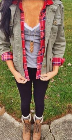 fall, winter, gray, cami, plaid, red, anorak, olive, black, combat boots, skinny jeans, layers: Casual Outfit, Fall Outift, Clothesss, Fall Outfits, Fall Flannel, Fall Winter Outfit, Cute Outfit, Cute Winter Outfit