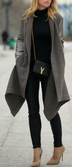 Grey and Black - love the beige heels with leather pants.