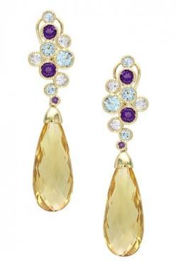 14K Yellow Gold Sky Blue Topaz, Amethyst, Green Amethyst & Citrine Drop Earrings