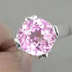 A Natural 3.4CT Round Diamond Cut Pink Sapphire with White Sapphire Accent Promise Engagement Anniversary 925 Sterling Silver Ring Size 7.25 by JoyofLondon on Etsy