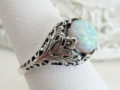 Antique Victorian Style White Opal Filigree Engagement Ring, Sterling Silver October Birthstone Ring, Floral Leaf & Vine Motif, Size 6.75
