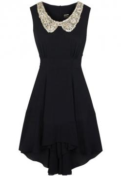 Black Sleeveless Sequined Collar High Low Waist Dress
