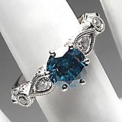 BLUE DIAMOND SOLITAIRE W/ACCENTS ENGAGEMENT RING SOLID 18K WHITE GOLD.....dream ring!!!
