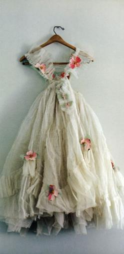 Elegant, old ballerina dress with paper flowers
