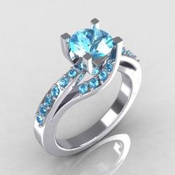 Modern Bridal 18K White Gold 1.0 Carat Aquamarine by artmasters, $1249.00