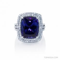 Night & Violets Collection - 18ct White Gold 13.56CT Tanzanite & Diamond Ring by TOMASSA