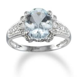 Oval Aquamarine and Diamond Ring in 14k White Gold