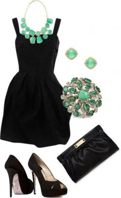 Peep-toe pumps and emerald jewelry.