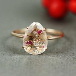 Pink Gold White Quartz Ruby White CZ Oval Ring | tooriginal - Jewelry on ArtFire: Quartz Ruby, Gold White, Oval Rings, Pink Gold, White Cz, Ruby White, White Quartz