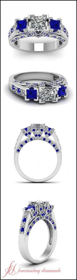 Princess Cut and Round Diamond & Blue Sapphire 14k White Gold Side Stone Engagement Ring || Trellis V Ring