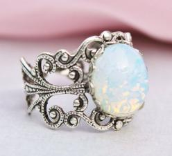 Silver Opal Ring,Silver Filigree Ring,Vintage White Glass Pinfire Opal,STURDY Adjustable Ring,Bridesmaids Jewelry,Birthstone Jewelry: Vintage Ring, Opal Rings, White Opal Ring, Vintage Opal Ring, Filigree Ring