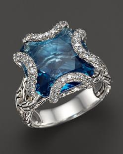 Stunning blue and silver designer ring. John Hardy Batu Classic Chain Sterling Silver Medium Braided Ring with London Blue Topaz and Diamonds: London Blue Topaz, Hardy Batu, John Hardy, Batu Classic, Sterling Silver, Braided Ring, Medium Braided