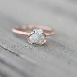 This is the first time I've ever seen a rough diamond and I absolutely love it --Foxe: Rose Gold Band, Rough Diamond Ring, Rose Gold Engagement Ring, Rose Gold Wedding Ring, Raw Diamond Engagement Ring, Simple Wedding Ring, Unique Simple Engagement Ri