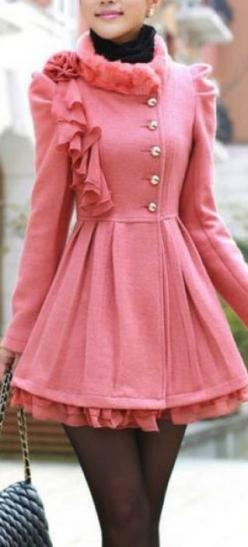 Very Girly! ~ Pink Fur Coat Dress love if I had a reason or lived in a big city I'd have this coat