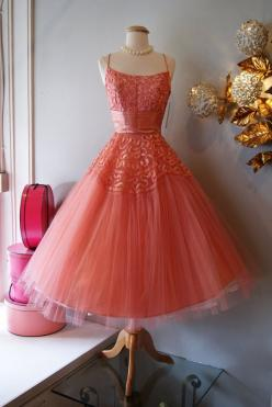 Vintage 1950's Dress // 50's Coral Splendor Dress by xtabayvintage, $198.00