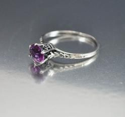 Vintage Sterling Silver Filigree Amethyst Ring