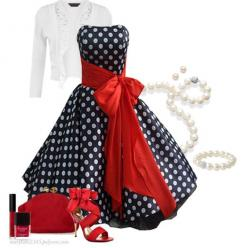 """""""50's Style Dress"""" by marykate2345 on Polyvore ... Me encanta!: 50S Style, Fashion, Polka Dots, Polkadot, Outfit, Styles, 50 S Style, 50 Style Dresses"""