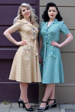 40s style dresses - Not only are the dresses great, but the girls wearing them went all out with vintage hair and makeup!: 1940S Dresses, Womens Fashion, Fashion 1940S, 1940S Vintage Dresses, Clothes, 1940S Fashion Dresses, Vintage Dress 40S 1940S Style,