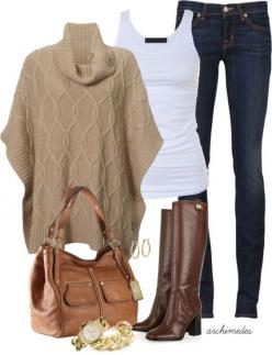 Coffee Outfit Idea with Jeans for 2015. I ♥ the poncho and the bag: Fashion, Outfit Ideas, Style, Fall 2015 Outfit, Coffee Outfit, Winter Outfits, Fall Outfit, Fall Winter