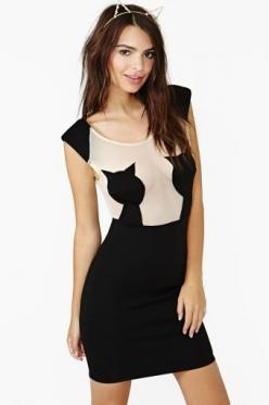 Copy Cat Dress (or Kitty Titty Dress, is what I would call it!) ..wish I could wear this.  Or am I glad I can't?: Cats, Cat Dresses, Copy Cat, Fashion, Style, Nasty Gal, Nastygal, Black Cat, Cat Lady