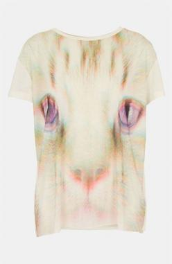 Dear Nordstrom, I am so shocked that you would carry something so unstylish.  This is truly creepy: Topshop Rave, Cat Shirts, Tee Petite, Fleece Tee Inspo, Topshop Cat, Pjs, Rave Cat