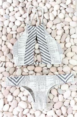 For some reason this looks like it is made of newspaper. I totally need to make a newspaper bikini.: Bathing Suits, High Neck Bikinis, Swim Wear, High Neck Halter Bikini, Grey Bikinis, Fashion Swimwear