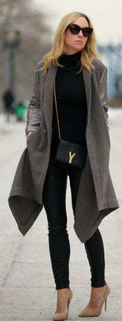 I don't usually like polo necks but this outfit looks so chic... #streetstyle: Jacket, Fashion Style, Street Style, Winter Fashion, Fall Outfit, Christmas Gift, Fall Winter