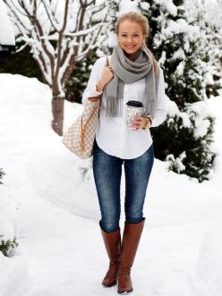 I have the bag, boots, shirt and jeans for this look. Need a grey scarf.: Winter Style, Winter Outfits, Fall Outfit, Winter Fashion, Brown Boots, Casual Outfits, White Button, Fall Winter