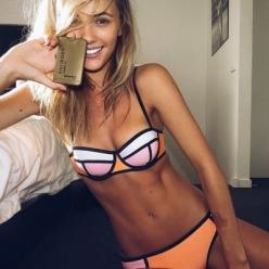 if this isn't inspiration to get skinny, and blonde, and be 21...and get a breast reduction..I don't know what is: Bikinis, Triangle Bikini