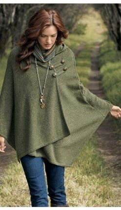 Poncho - loving the snap detail!: Style, Vintage Wool Blanket, Blanket Cape, Ponchos, Coat