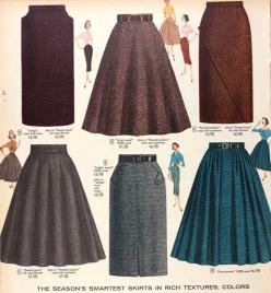 Tweed skirts, Sears & Roebuck, 1956. These skirts are very trendy now. Especially in the colder weather. Paired with some booties and a blouse-y top. Makes for a great day of work outfit, or even a day on the go. Super cute!: Roebuck 1956, Vintage Ski