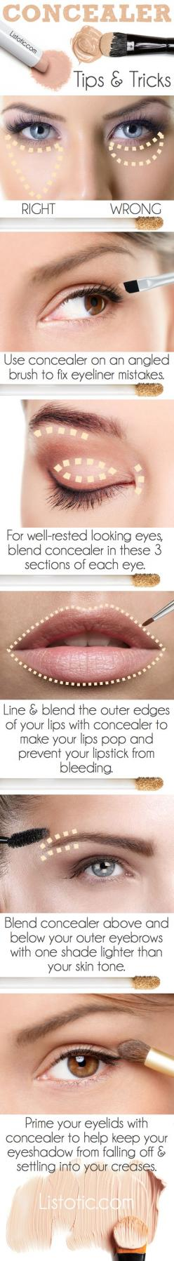 #1. Not knowing how to use your concealer   20 Beauty Mistakes You Didn't Know You Were Making: Beauty Mistake, Makeup Tutorial, Beauty Tip, Face Makeup Tip, Makeup Trick, Conceler Tip, How To Makeup Tip