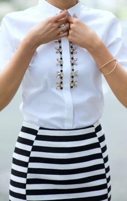 black and white striped pencil skirt + embellished black and white jewel button front oxford shirt: Fashion, Inspiration, Style, White Shirts, Outfit, Black White, Striped Skirts