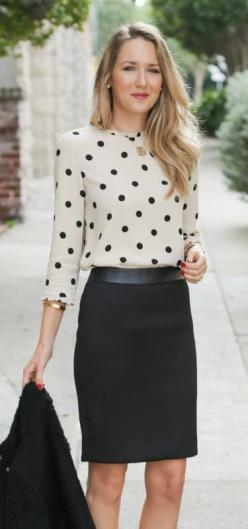 chevron textured black pencil skirt with leather waistband, boucle textured jacket, kate spade deco polka dot tan and black blouse   sjp collection pumps: Office Work Outfit, Black Pencil Skirt Outfit, Professional Outfit, Polka Dot Blouse, Workoutfit, La