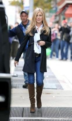 Fashion clothes and accessories from http://findanswerhere.com/womensfashion: Jennifer Aniston, Fashion, Jennifer Anniston, White Shirts, Outfit, Fall Winter, Hair Color, Jenniferaniston