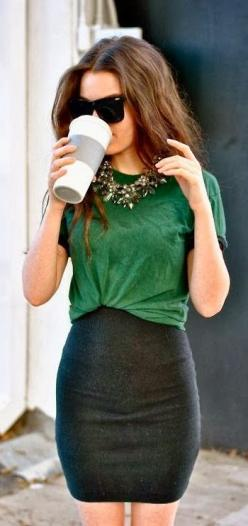 Perfect way to tuck in your shirt.: Fashion, Statement Necklaces, Style, Green Top, Dress, Pencil Skirts, Work Outfits