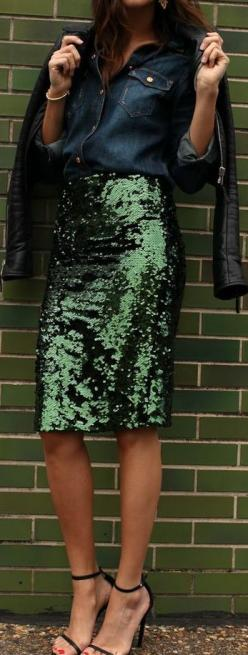 A little sparkle for the holiday season, whilst still keeping it edgy with the leather jacket: Sequin Skirt, Sequin Outfit, Sparkle Skirt