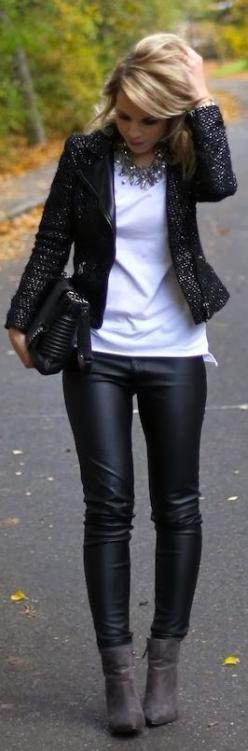 Black white & gray. Leather accent jacket, statement necklace, mod quilted handbag, skinny jeans...& just a touch of bling. [ Jacket, shoes, bag, necklace - ZARA // t-shirt - TOPSHOP // pants - H&M ]: Black Leather Pant, Fashion, Statement Nec