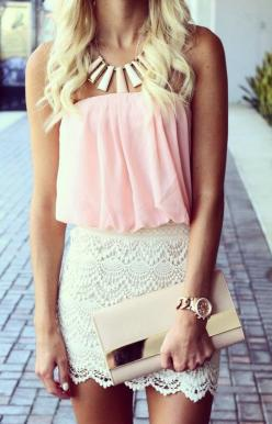 Pretty sure I already own this skirt, now i just have to find a top and accessories: Summer Fashion, Dream Closet, Street Style, Pink Tops, Spring Summer, Summer Outfits, Pretty Outfit, Dresses Skirts, Lace Skirt