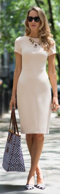 Zara White Short Sleeve Tailored Bodycon Dress by The Classy Cubicle: Summer Dress, Street Style, Dresses, Sheath Dress, White Short, Work Outfits, Closet