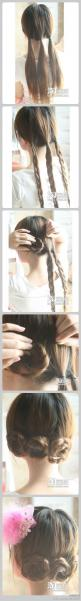easy. and cute.: Hairstyles, Hair Styles, Hair Tutorial, Hair Do, Braided Bun