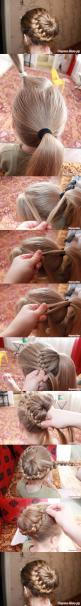 Easy french braid bun… I would love for my to do this, but I dont think it ever would! « 9greg: Hair Do, Hair Style, Braided Bun, Updo