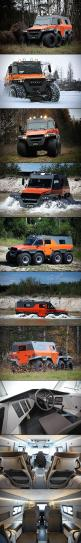 In case of zombies, there's all-terrain vehicles, and then there's the Avtoros Shaman 8×8 all-terrain vehicle – the end all, be all for ATVs.  Measuring in at 6 meters long, 3 meters high, and 2.5 meters wide, this 2.5-ton beast can tackle literally any t